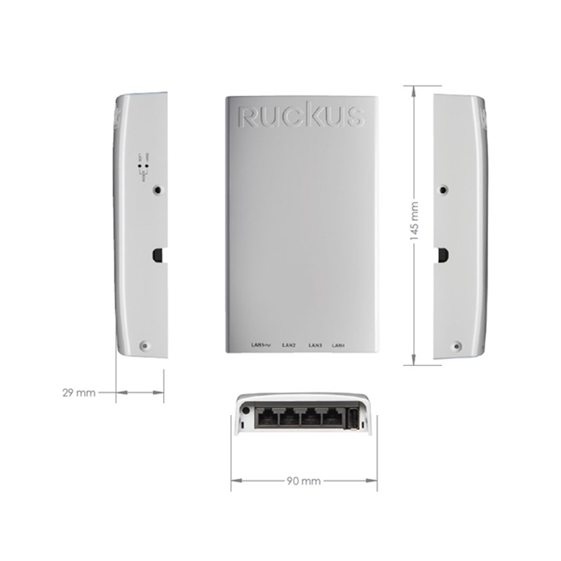 RUCKUS H510 Indoor Access Point Wall-Mounted 802.11AC Wave 2 Wi-Fi Indoor Access Point (AP) and Switch for Dense Client Environments